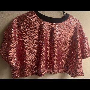 Pink Sequined Crop Top NEVER WORN